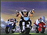 The Biker Mice crashing on Earth
